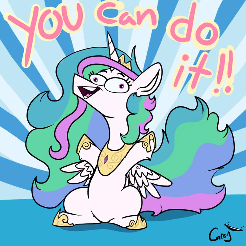 motivational princess celestia greyscale - 9203569664