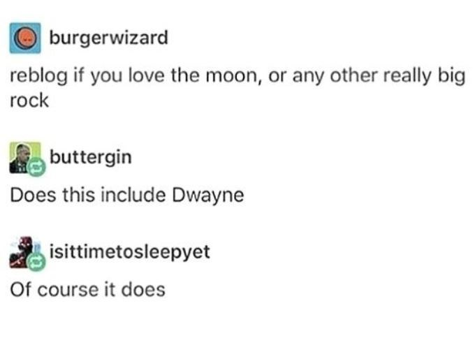 Text - burgerwizard reblog if you love the moon, or any other really big rock buttergin Does this include Dwayne isittimetosleepyet Of course it does