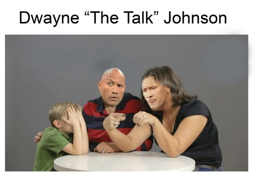 "Two parents try to explain sex to their son under the caption, ""Dwayne 'The Talk' Johnson"""