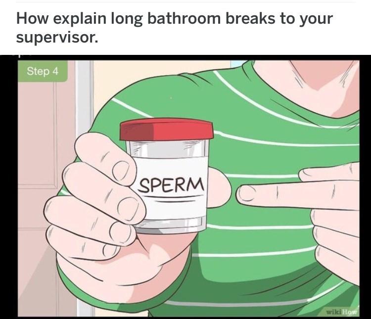 wikihow meme - Text - How explain long bathroom breaks to your supervisor. Step 4 SPERM wiki How