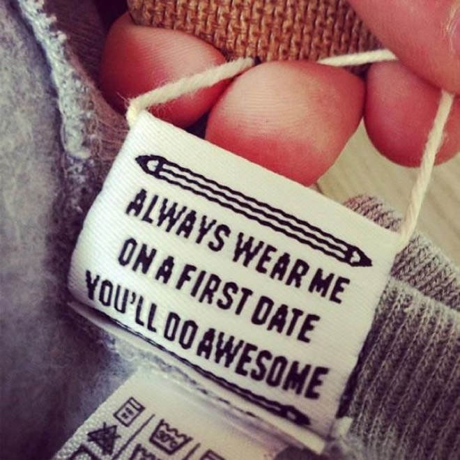 joke labels - Text - ALWAYS WEAR ME ON A FIRST DATE YOU'LL OO AWESOME 30%