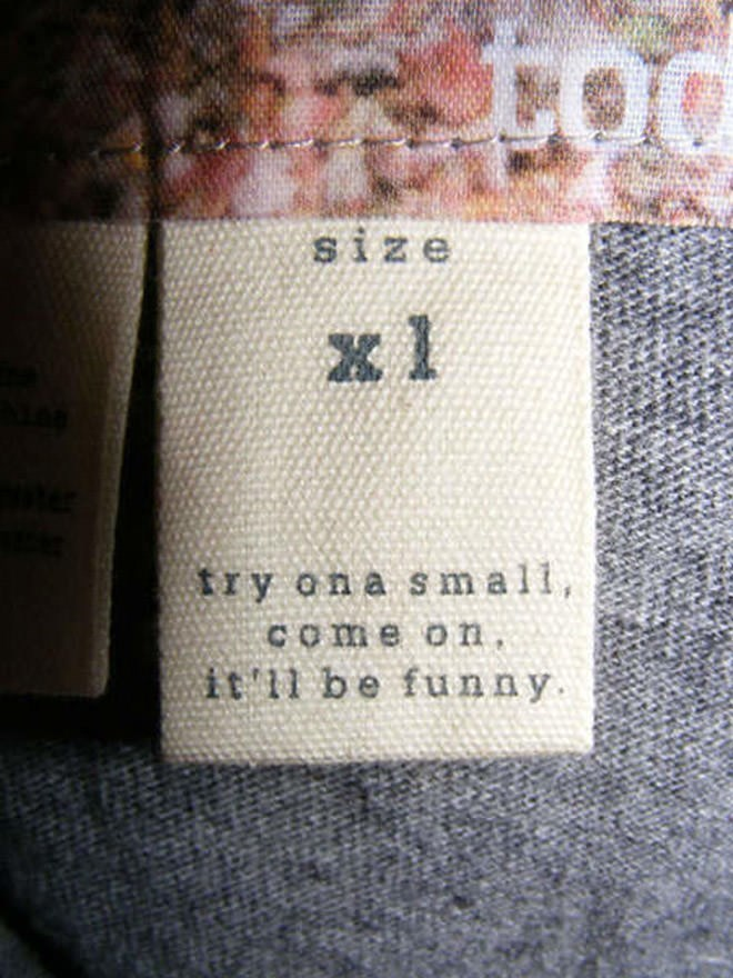 joke labels - Wool - size x l try ona sm all, Come on it 11 be funny