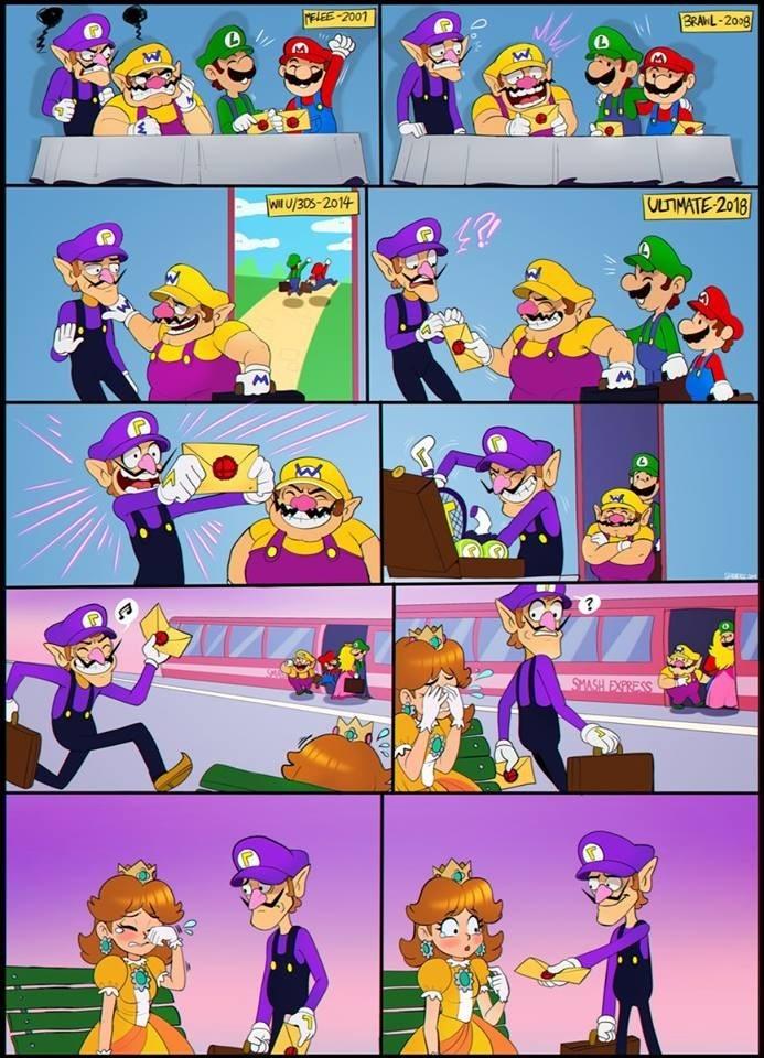 vineta que explica la falta de Waluigi en Smash Bros