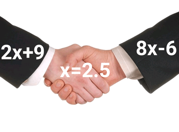 One hand represents '2x+9,' the other represents '8x-6' and the middle represents 'x=2.5'
