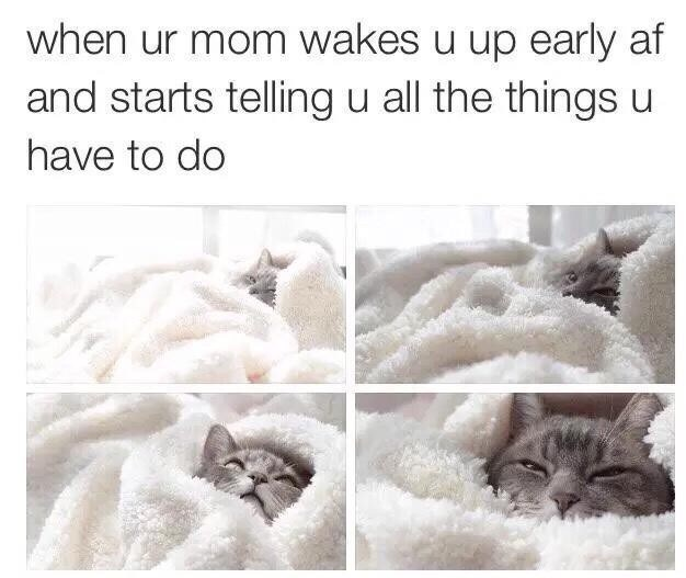 Text - when ur mom wakes u up early af and starts telling u all the things u have to do