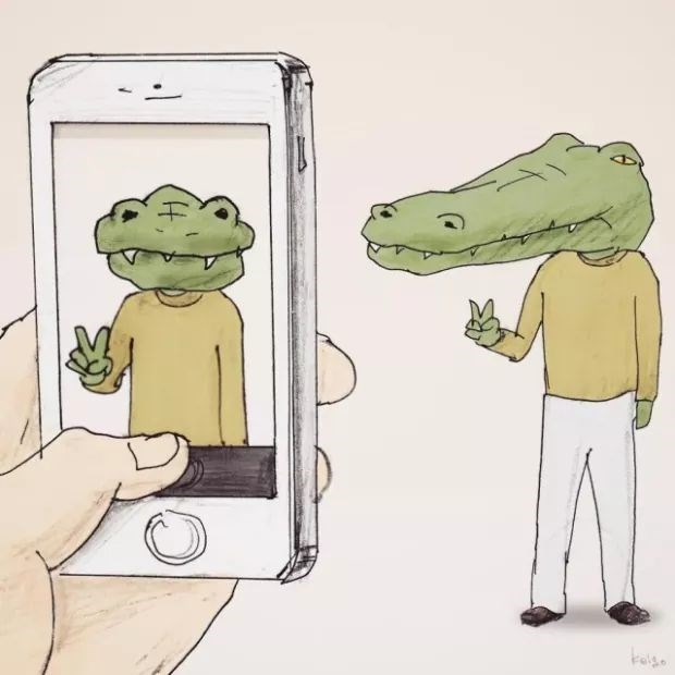 Drawing of a crocodile trying to take a selfie