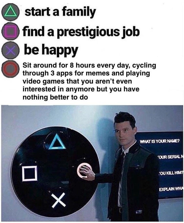Connor pushes the circle meme about choosing not to progress your life