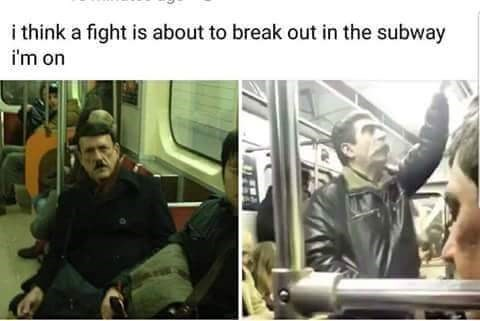 dank meme with pics of passengers on subway who look like Hitler and Stalin