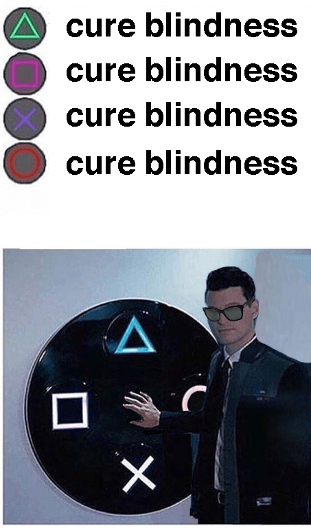 Connor pushes the circle meme where the man is blind