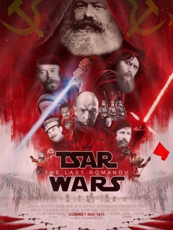 "Star Wars movie poster parody called ""Tsar Wars"" about the Romanov family"