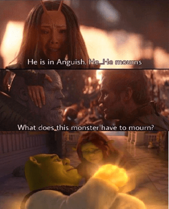 dank meme about Thanos mourning the death of Shrek
