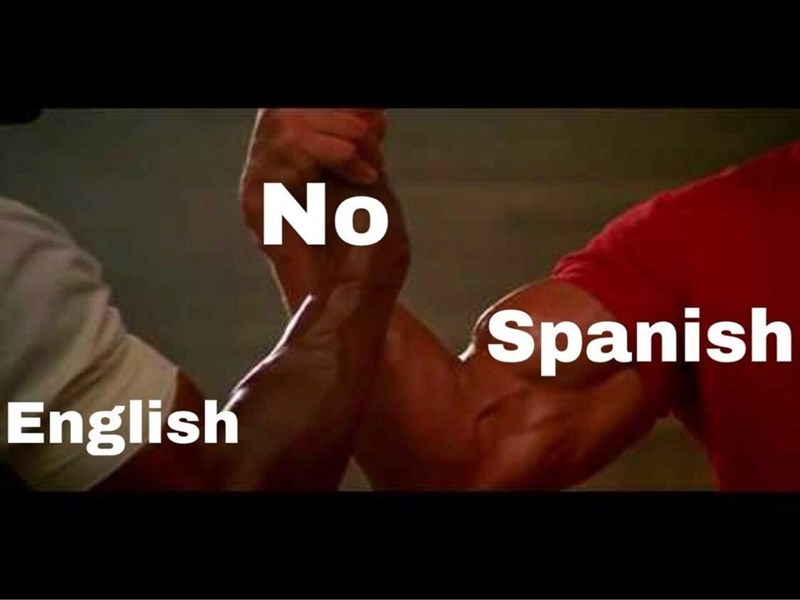 "epic handshake meme about the word ""no"" being the same in both Spanish and English"