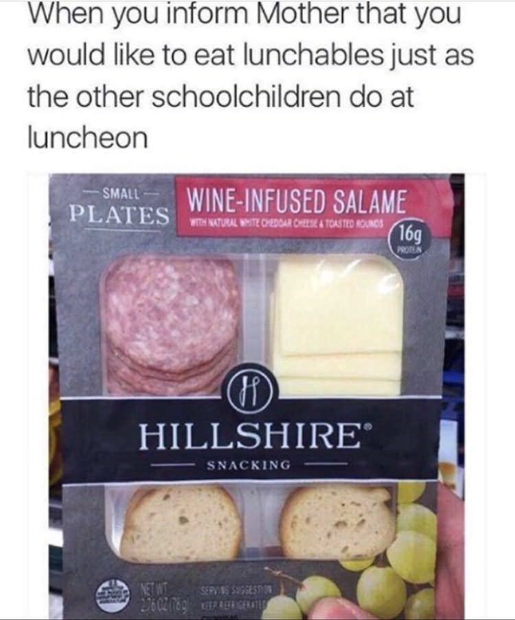 "Pic of a Hillshire snack pack under the caption, ""When you inform Mother that you would like to eat Lunchables just as the other school children do at luncheon"""