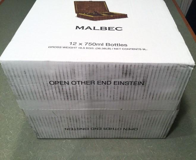 Box - MALB EC 12 x 750ml Bottles GROSS WEIGHT 16.5 KGs. (36.38LB) / NET CONTENTS oL OPEN OTHER END EINSTEIN OPEN OTHER END EINSTEIN