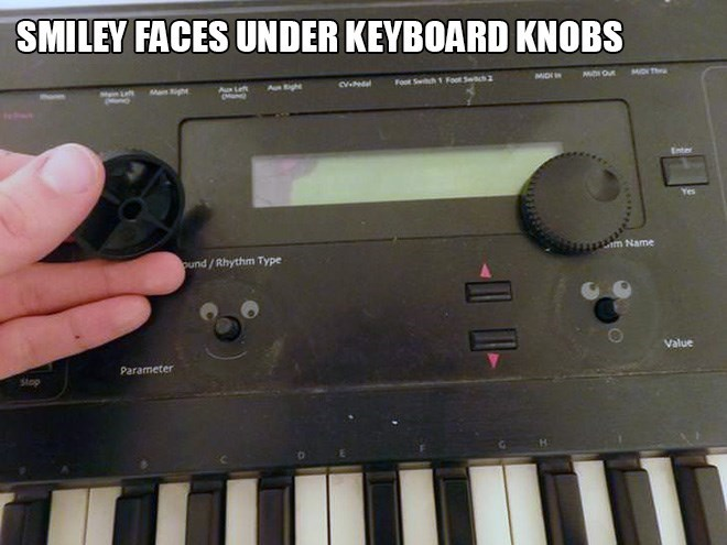 Musical instrument - SMILEY FACES UNDER KEYBOARD KNOBS MDI MON Th Foo Sh 1 FSch2 Aught Maight Au Enter asm Name ound/Rhythm Type Value Parameter Stop