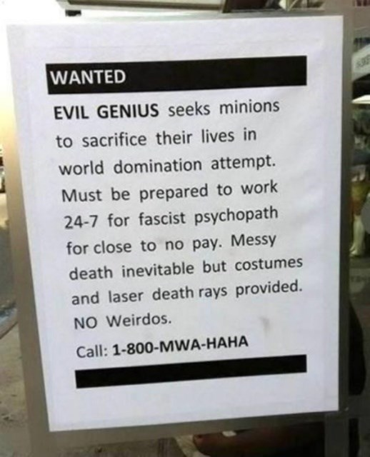 Text - WANTED EVIL GENIUS seeks minions to sacrifice their lives in world domination attempt. Must be prepared to work 24-7 for fascist psychopath for close to no pay. Messy death inevitable but costumes and laser death rays provided. NO Weirdos Call: 1-800-MWA-HAHA