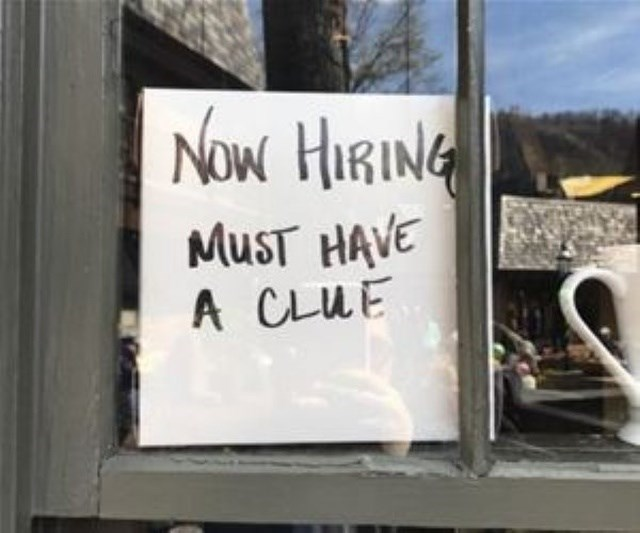 Text - NOw HIRING MUST HAVE A CLUE