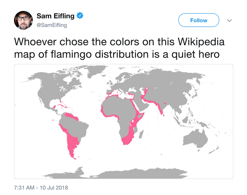 Text - Sam Eifling Follow @SamEifling Whoever chose the colors on this Wikipedia map of flamingo distribution is a quiet hero 7:31 AM 10 Jul 2018