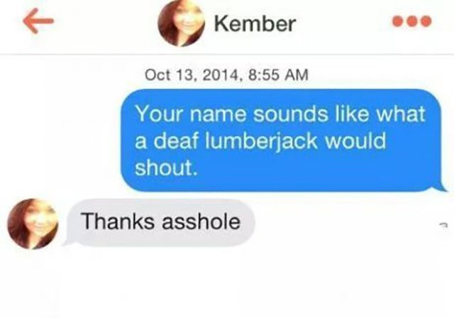 sunday meme about the name Kember sounding like what a deaf lumberjack would say