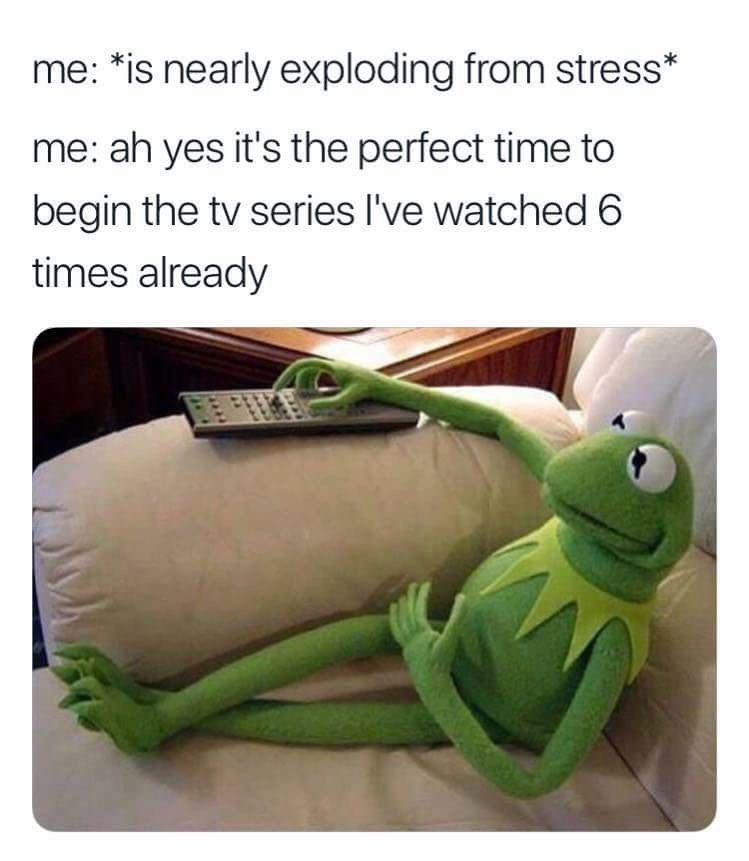 sunday meme of Kermit the frog and comparing it to rewatching a series you've seen already