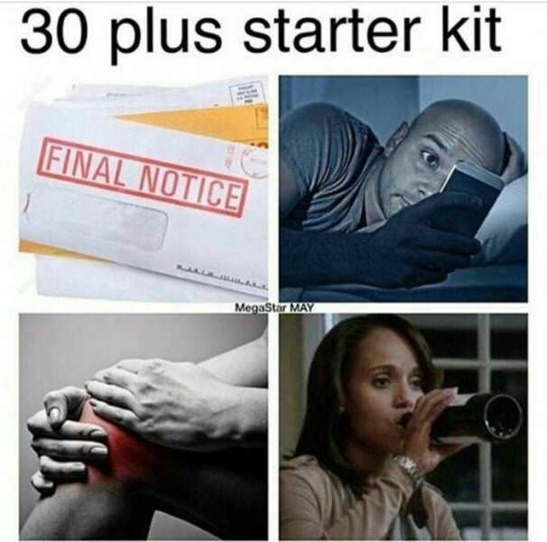 sunday meme about the starter pack for people over the age of 30