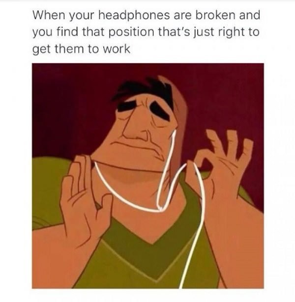 sunday meme of Pacha from The Emperor's New Groove holding broken headphones at the right angle