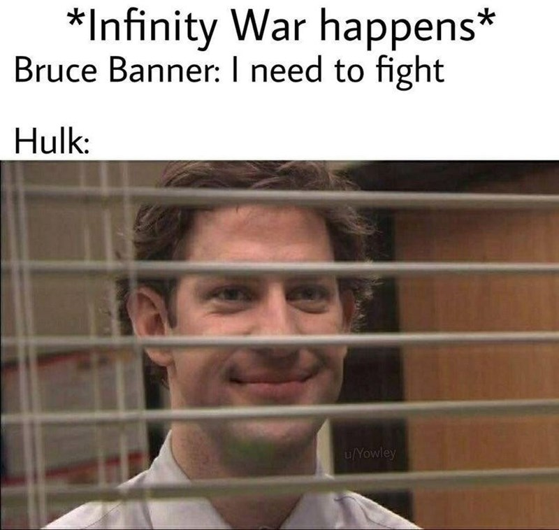 sunday meme of Jim from the office compared to hulk in infinity war