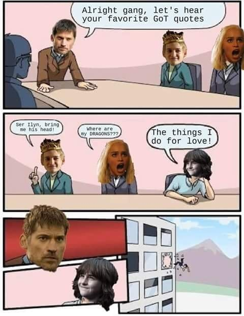 sunday meme making fun of famous Game of Thrones lines in a comic strip