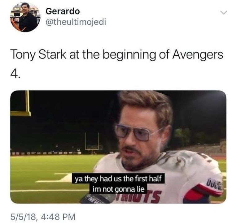 sunday meme of Tony Stark in a football uniform and comparing it to Avengers 4