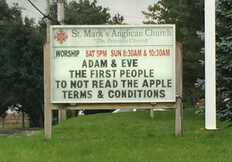 Nature - St. Mark's Anglican Church The Friendly Church WORSHIP SAT 5PM SUN 8:30AM&10:30AM ADAM &EVE THE FIRST PEOPLE TO NOT READ THE APPLE TERMS&CONDITIONS