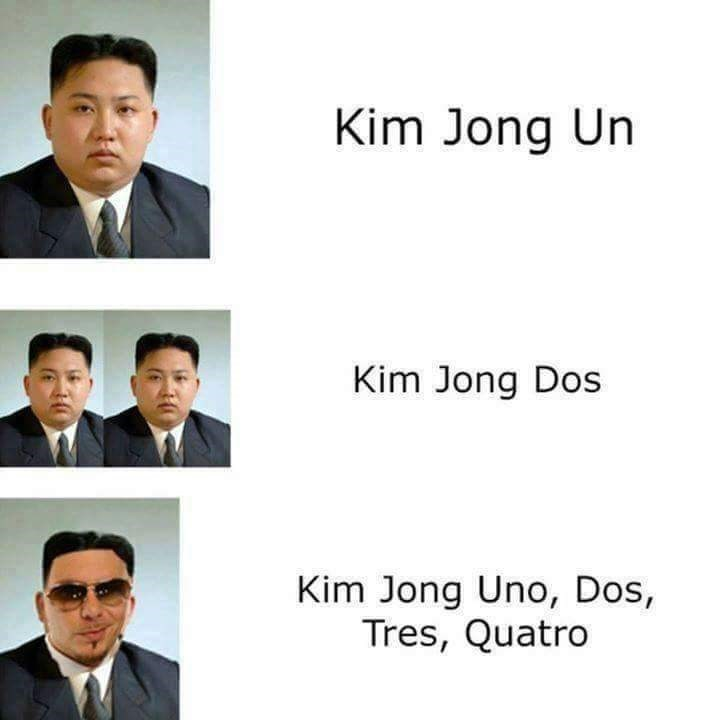 Pic of Kim Jong Un, 'Kim Jong Dos' and 'Kim Jong Un, Dos, Tres Quatro' photoshopped as Pitbull