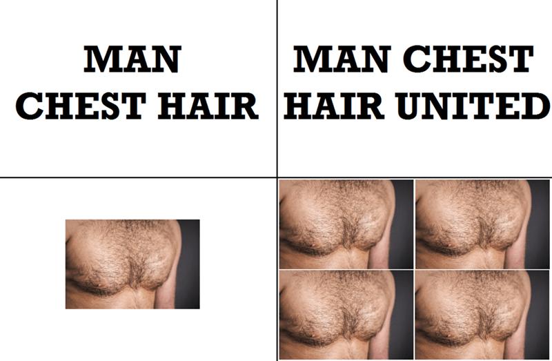 'Man chest hair' and 'Man chest hair united'