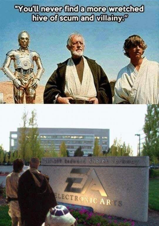 "dank - Movie - ""You'll never find a more wretched hive of scum and villainy 20% S Redee Shores zA ELECTRONIC ARTS"