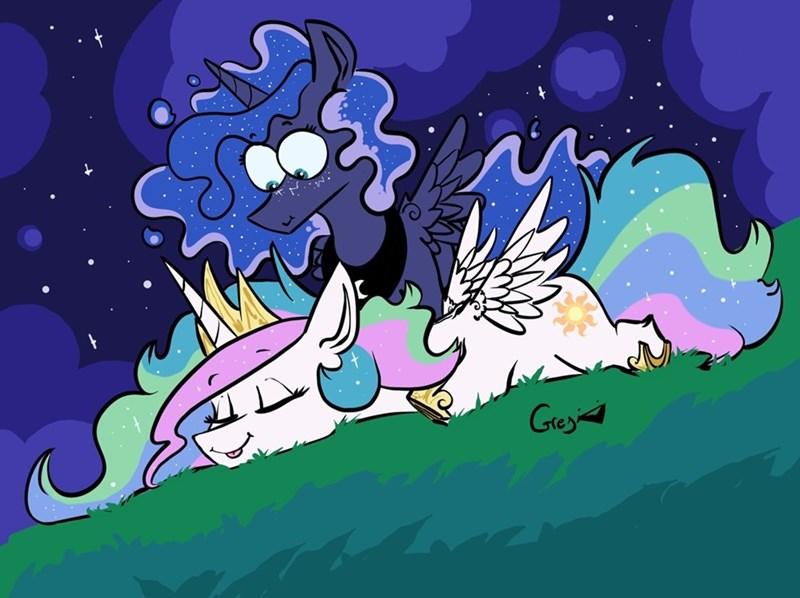 princess luna princess celestia greyscale - 9204462336