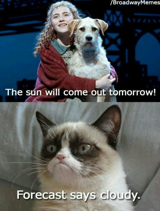 caturday meme with grumpy cat telling Annie the sun will not come out tomorrow