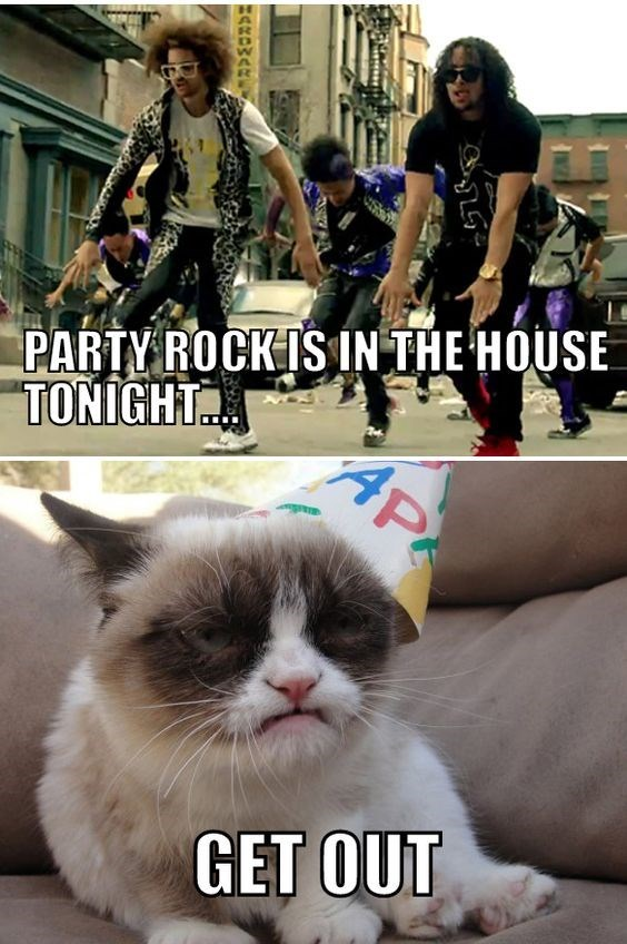 caturday meme with grumpy cat telling Party Rock by LMFAO to get out of his house