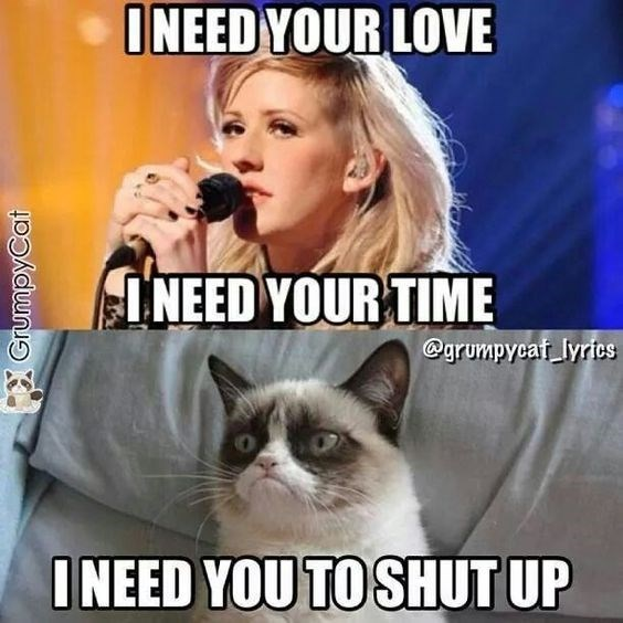 caturday meme with grumpy cat telling Ellie Goulding to shut up