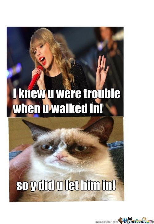 caturday meme with grumpy cat asking why Taylor Swift let a guy in if she knew he was trouble
