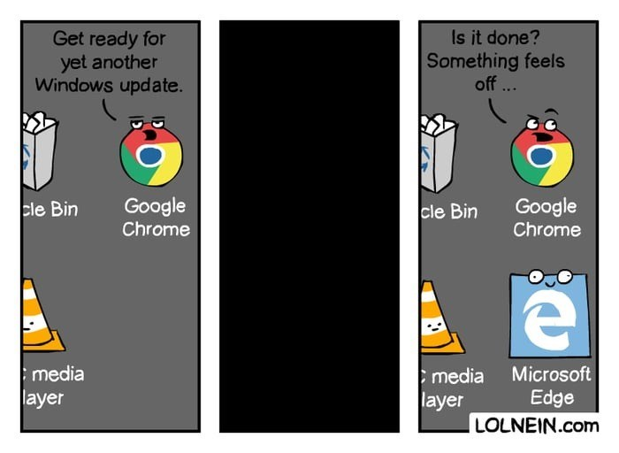 Windows update meme of Google Chrome sensing Microsoft Edge nearby
