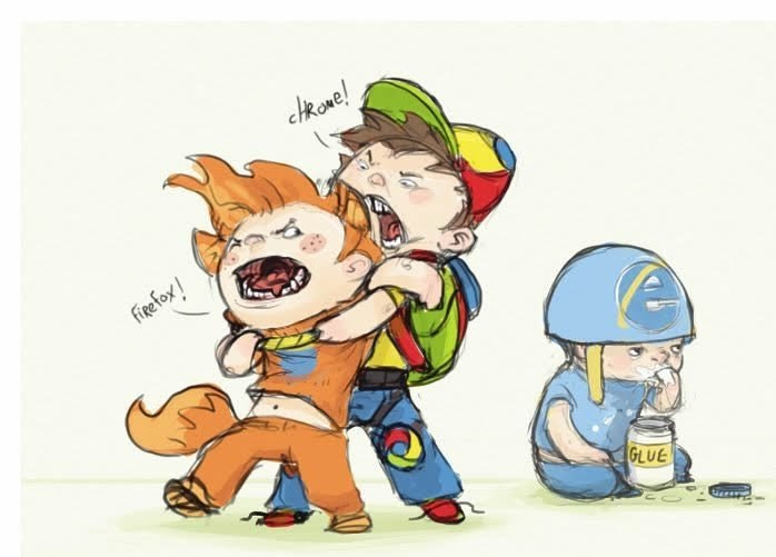 chrome and firefox kids fighting as the internet explorer kid with a helmet sits and eats glue