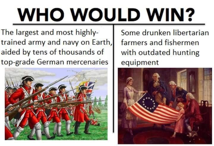 Adaptation - WHO WOULD WIN? The largest and most highly trained army and navy on Earth, aided by tens of thousands of top-grade German mercenaries Some drunken libertarian farmers and fishermen with outdated hunting equipment