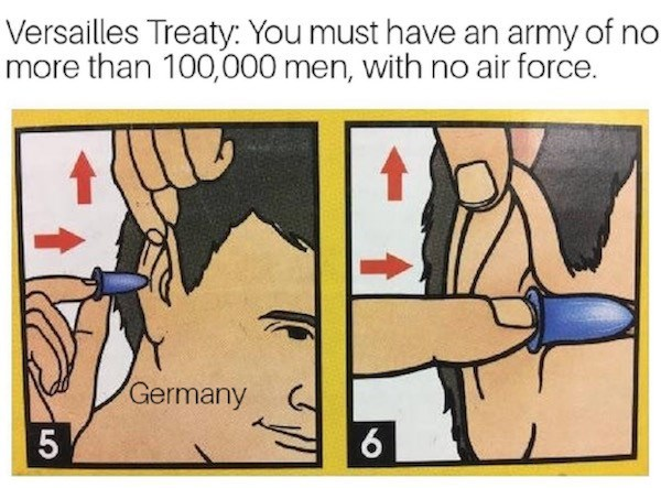 Cartoon - Versailles Treaty: You must have an army of no more than 100,000 men, with no air force. Germany 6