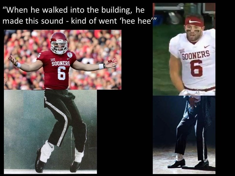 """Facial expression - """"When he walked into the building, he made this sound - kind of went 'hee hee"""" SOONERS SOONERS 6"""