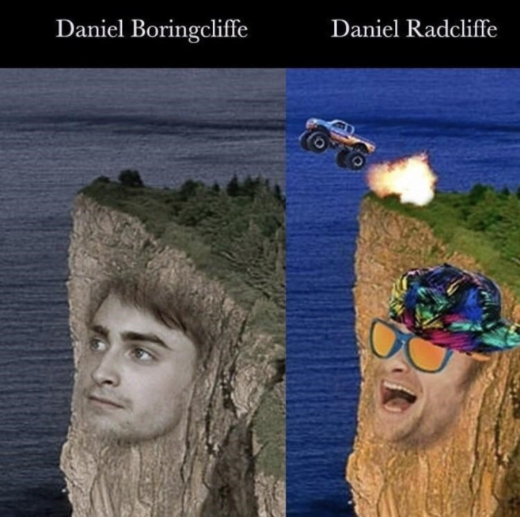 Pic of 'Daniel Boringcliffe' looking somber and 'Daniel Radcliffe' ready to party