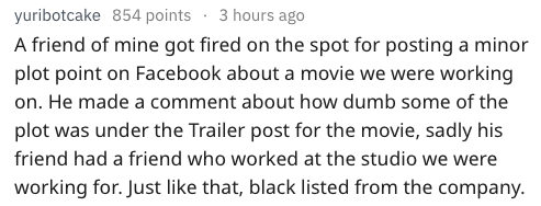 Text - yuribotcake 854 points . 3 hours ago A friend of mine got fired on the spot for posting a minor plot point on Facebook about a movie we were working on. He made a comment about how dumb some of the plot was under the Trailer post for the movie, sadly his friend had a friend who worked at the studio we were working for. Just like that, black listed from the company.