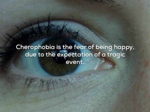 Eyebrow - Cherophobia is the fear of being happy. due to the expectation of a tragic event.