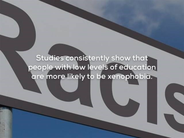 Font - Studies consistently show that people with low levels of education are more likely to be xenophobia.
