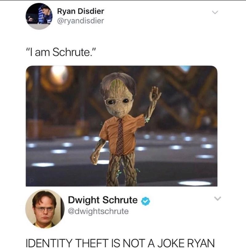 "Animation - Ryan Disdier @ryandisdier ""I am Schrute."" Dwight Schrute @dwightschrute IDENTITY THEFT IS NOT A JOKE RYAN"