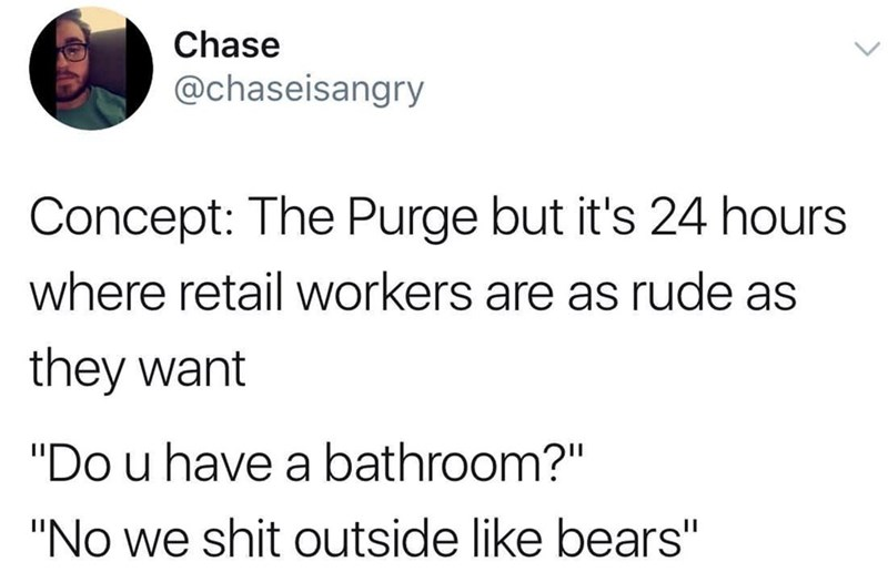 Tweet about retail workers letting loose