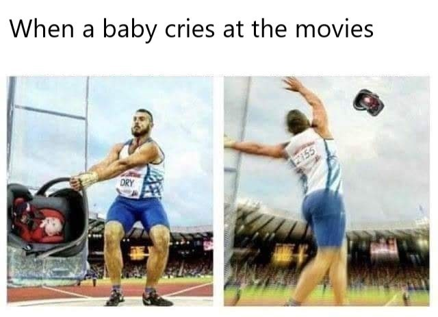 Meme about crying babies in movie theaters with pic of athlete throwing a baby carrier